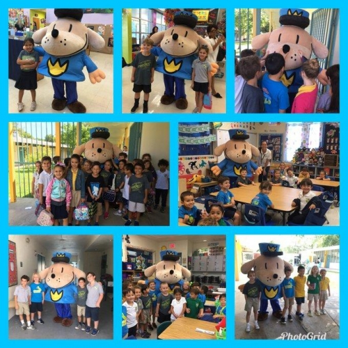 Students meeting with Dogman at Book Fair